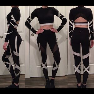 Alo High-Waisted Black and White Bandage Leggings